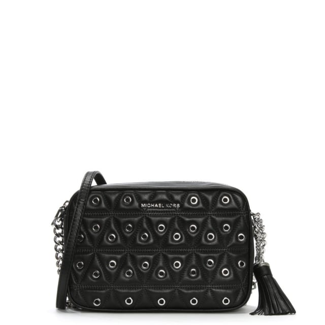 Ginny Black Leather Quilted Grommet Camera Bag
