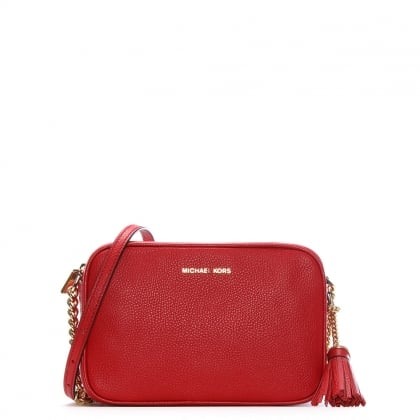 Ginny Bright Red Tumbled Leather Camera Bag