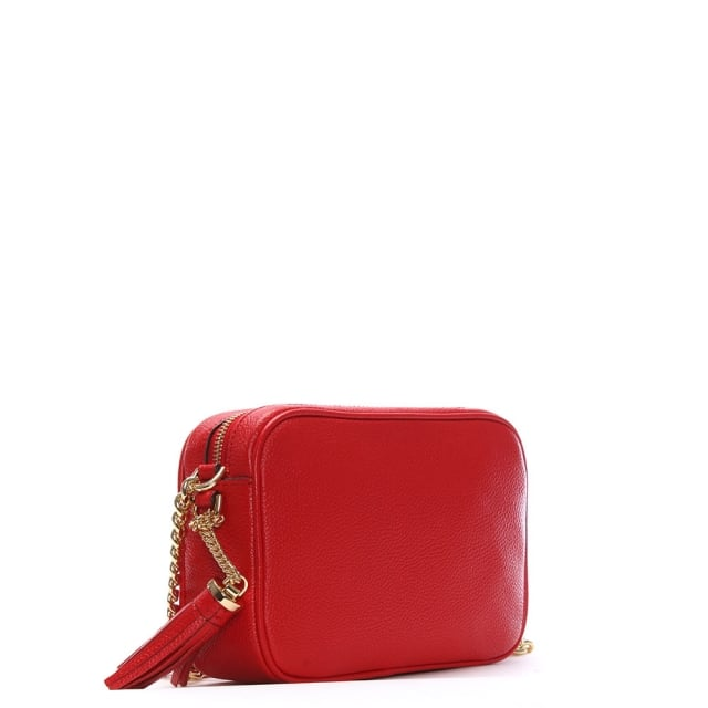 6359ffe55d Michael Kors Ginny Bright Red Tumbled Leather Camera Bag