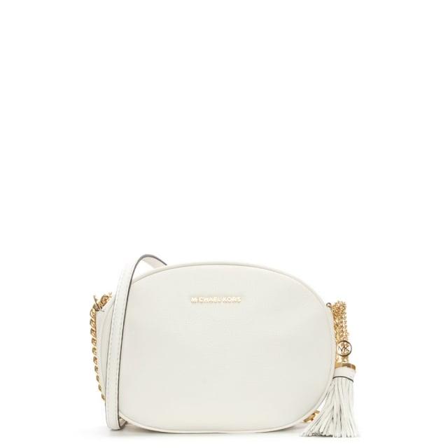 97c386e28dab Michael Kors Ginny Medium Optic White Leather Messenger Bag