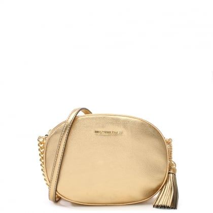 Ginny Medium Pale Gold Leather Messenger Bag