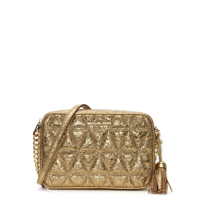 5c527a504d58 Michael Kors Ginny Pale Gold Leather Quilted Camera Bag