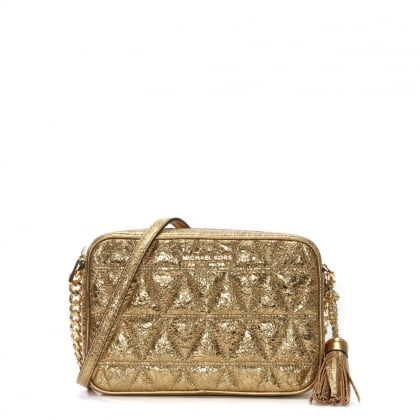 Ginny Pale Gold Leather Quilted Camera Bag