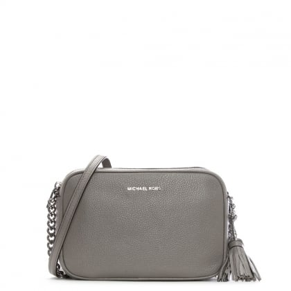 Ginny Pearl Grey Tumbled Leather Camera Bag New In � Michael Kors ...