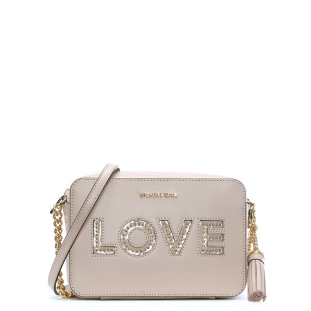 df03ff022ab590 Michael Kors Ginny Soft Pink Leather Love Camera Bag