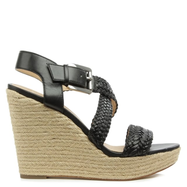 Giovanna Black Leather Woven Wedge Sandal