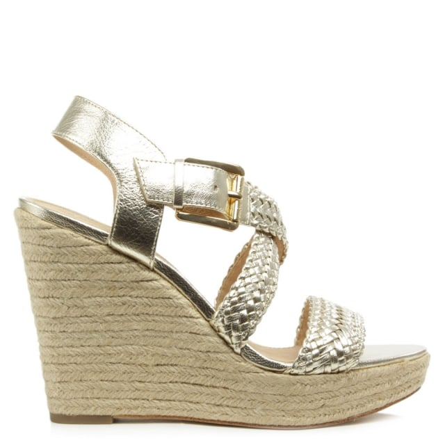 Giovanna Gold Leather Woven Wedge Sandal