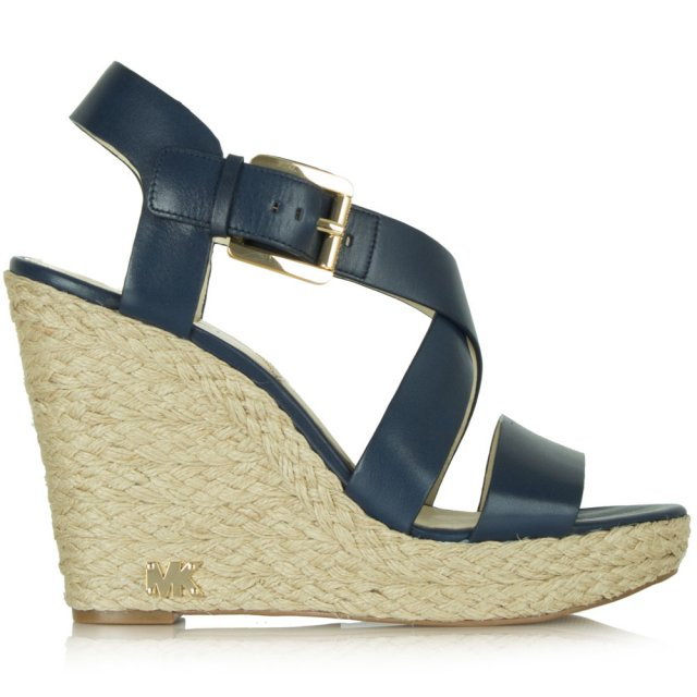 0f110612121 Giovanna Navy Leather Wedge Sandal