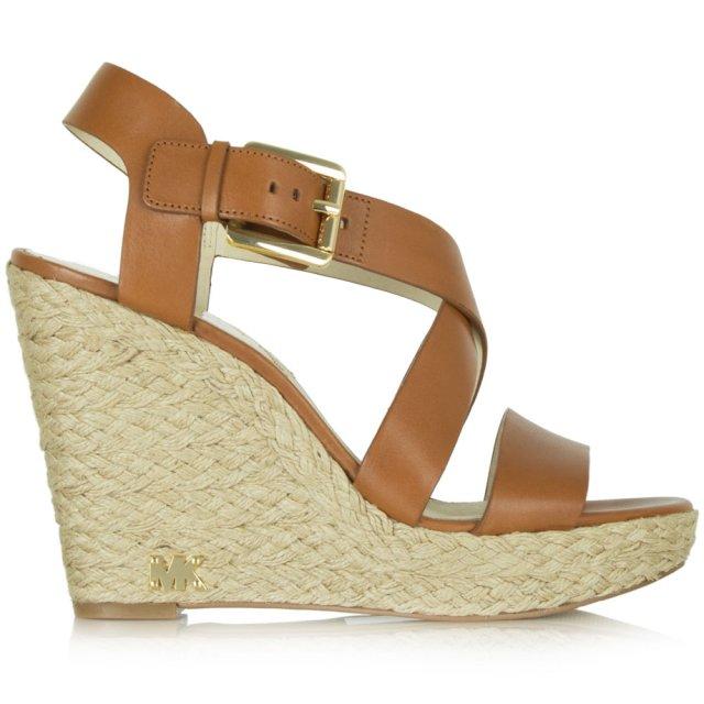 Giovanna Tan Leather Wedge Sandal - Michael Kors Tan Leather Giovanna Wedge Sandal