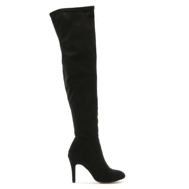 Givendale Black Suedette Pointed Toe Over The Knee Boots