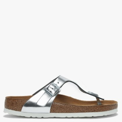 bf966d6d67a Birkenstock Gizeh Silver Leather Toe Post Sandals