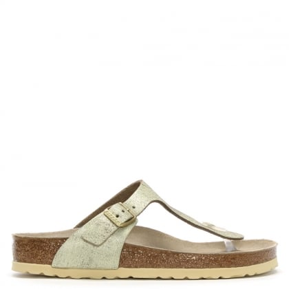 a631fe07025 Birkenstock Gizeh Wash Gold Leather Toe Post Sandals