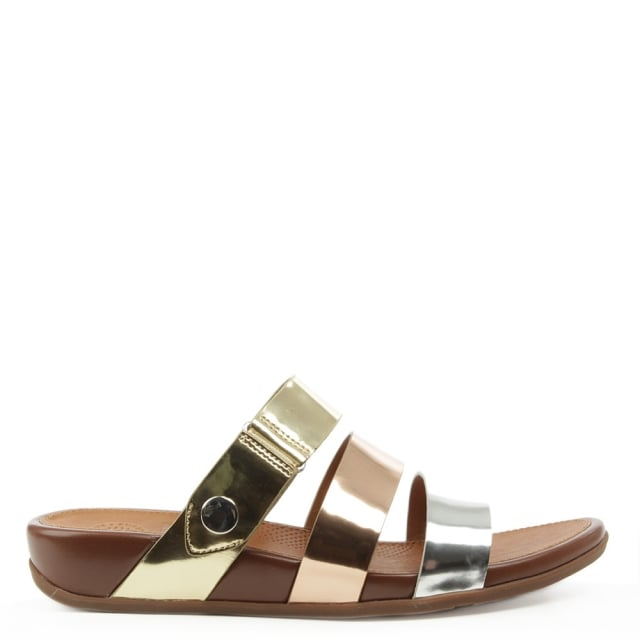 Gladdie Gold Leather Slide Sandal