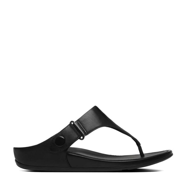 Gladdie Toe Post Black Leather Flip Flop