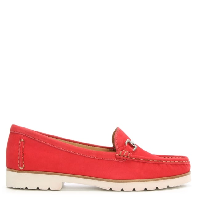 Gladiolus Red Suede Buckled Loafer