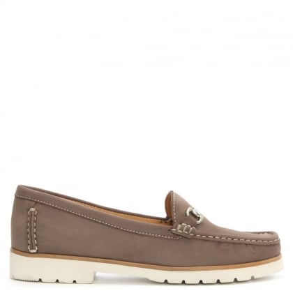 Gladiolus Taupe Suede Buckled Loafer