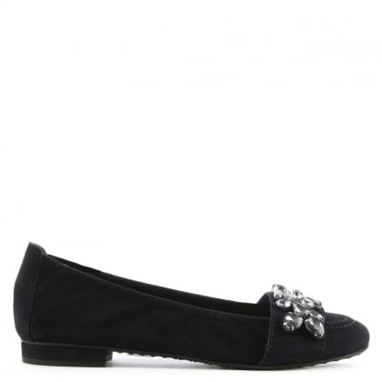 Kennel & Schmenger Glam Navy Suede Jewelled Embellished Pump