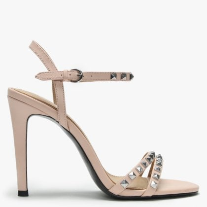 de0dfb82a Glam Pink Leather Studded Evening Sandals