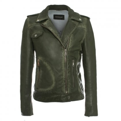 Glass Green Leather Biker Jacket