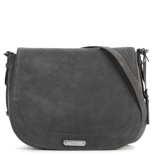 Glenmore Larisa Dark Shadow Suede Saddle Bag