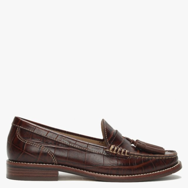777cbff6fd4ee Glenster Brown Moc Croc Leather Chunky Loafers