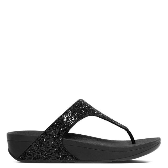 9777d5e0ce1 FitFlop Glitterball Black Glitter Toe Post Sandals