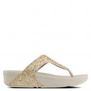 470a9420ebc Fitflop Gold Leather Banda Micro Crystal Toe Post Sandal