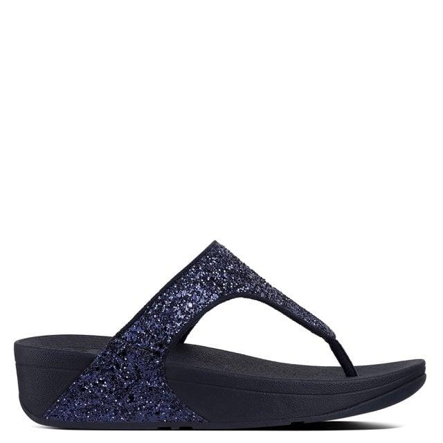 87d643b11d2c2e FitFlop Glitterball Midnight Navy Glitter Toe Post Sandals