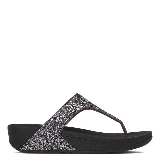 Glitterball Pewter Glitter Toe Post Sandals