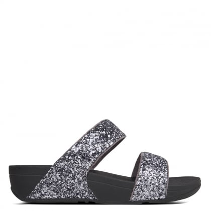 Glitterball Pewter Slide Sandals