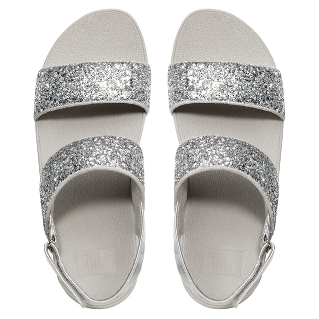 d7972b798f4981 FitFlop Glitterball Silver Ankle Strap Sandals