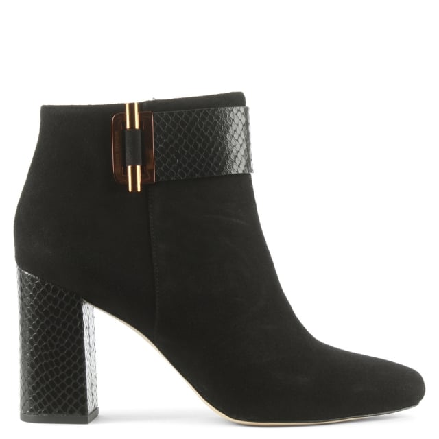 Gloria Black Suede & Reptile Ankle Boot