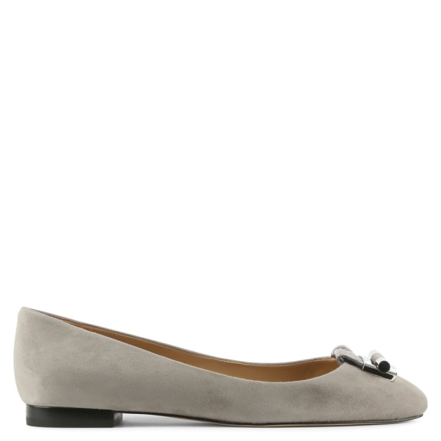 Gloria Pearl Grey Suede Ballet Pump