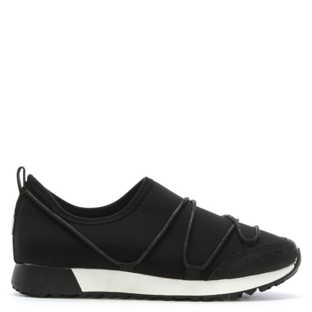 Glover Black Neoprene Slip On Sneakers