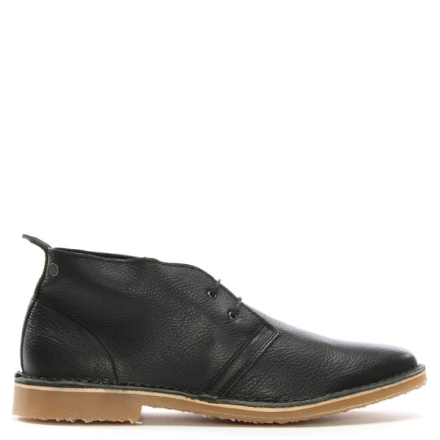 Jack & Jones Gobi Tumbled Black Leather Desert Boots