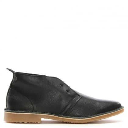 Gobi Tumbled Black Leather Desert Boots