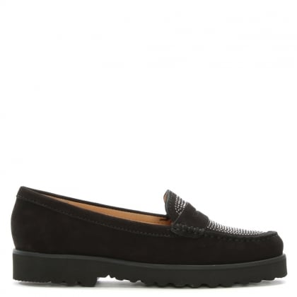 Goby Black Suede Diamante Embellished Loafers