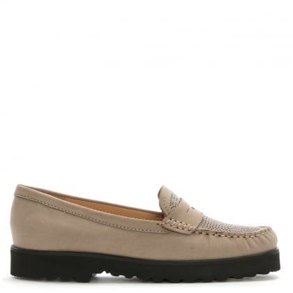 Goby Taupe Suede Diamante Embellished Loafers