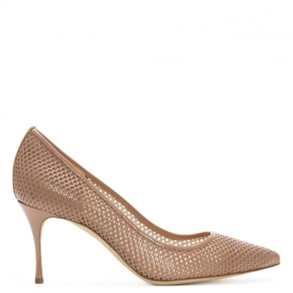Sergio Rossi Godiva 75 Nude Patent Perforated Court Shoe