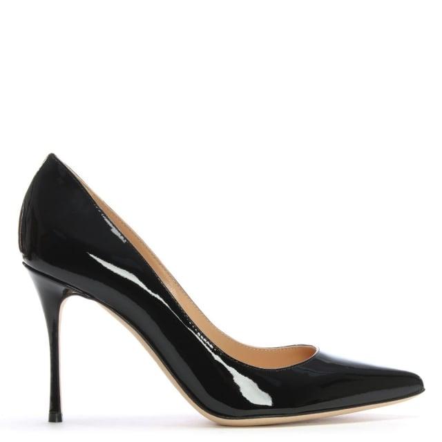 Sergio Rossi Godiva Black Patent Leather High Heel Court Shoes