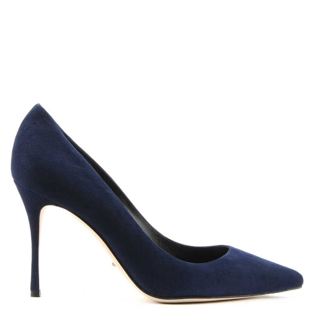 Godiva Navy Suede High Heel Court Shoe