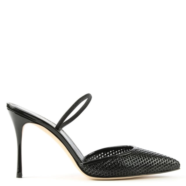 Sergio Rossi Godiva Perforated Black Patent Leather Heeled Shoe