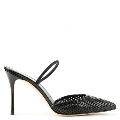 Godiva Perforated Black Patent Leather Heeled Shoe