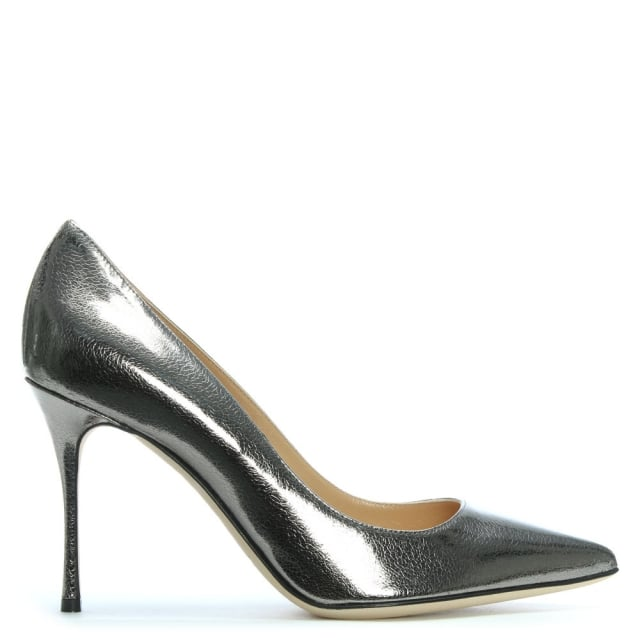 Sergio Rossi Godiva Pewter Leather High Heel Court Shoes