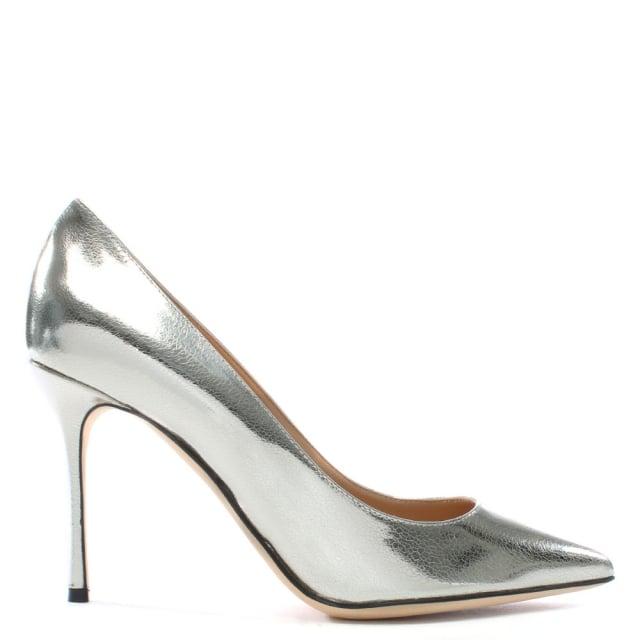 Sergio Rossi Godiva Silver Metallic Suede High Heel Court Shoes