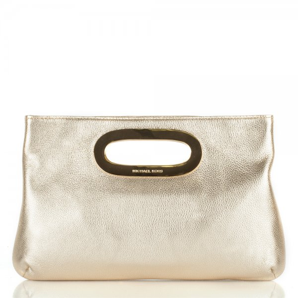 4f55c021683a Michael Kors Gold Leather Berkley Clutch Women s Bag