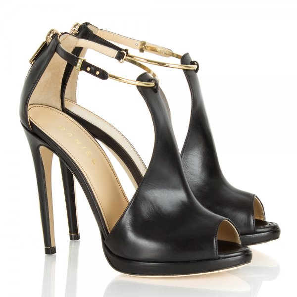 b7659126aba8ac Gold Cut Out Black Leather Women  039 s Heeled Sandal