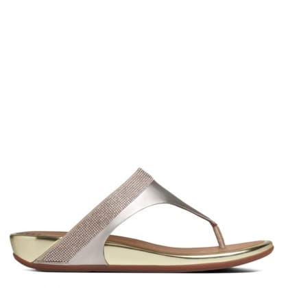 Gold Leather Banda Micro Crystal Toe Post Sandals
