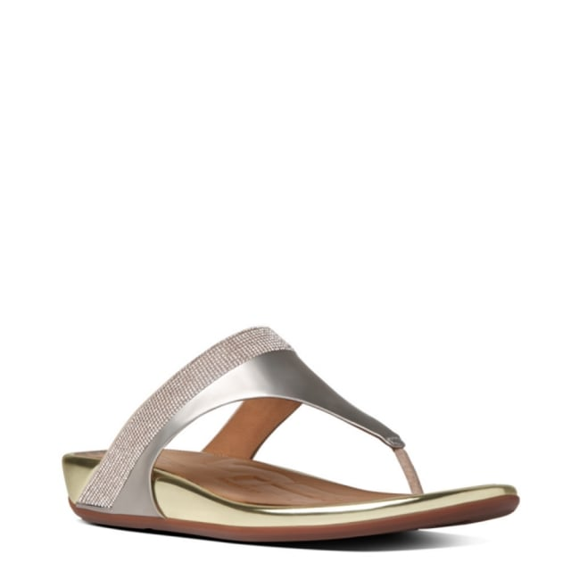 13f6562f4 Fitflop Gold Leather Banda Micro Crystal Toe Post Sandal
