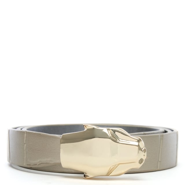 Cavalli Class Gold Leather Moc Croc Panther Belt
